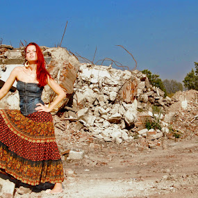 Queen of the rocks by Adrienn Liker - People Portraits of Women ( fashion, building, girl, destroyed, woman )