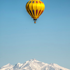 Mountain Balloon by Kimberly Sheppard - Transportation Other ( hot air balloon, mountains, yellow, balloon, peaks )