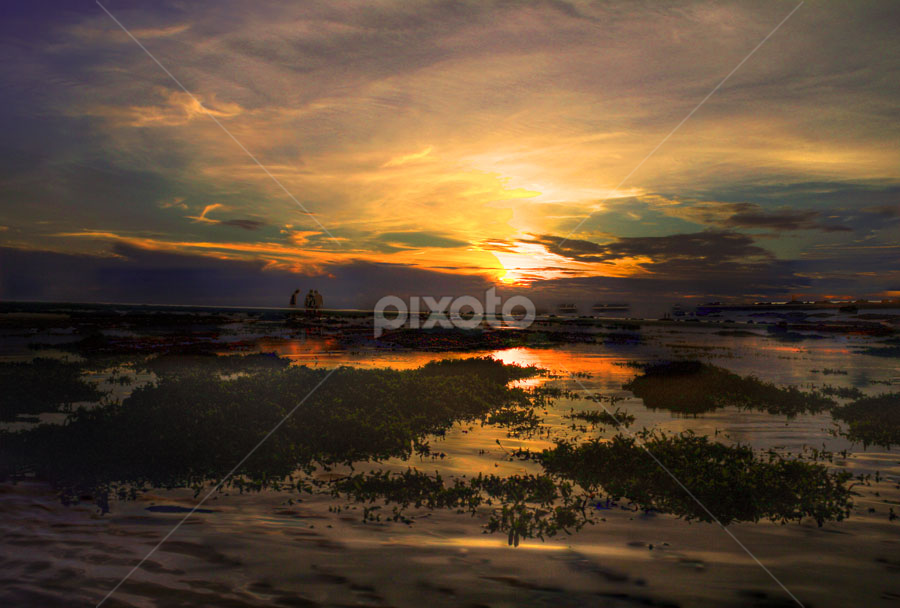 Air Surut.. by Daimasala Abdullah - Landscapes Waterscapes ( water, sunset )