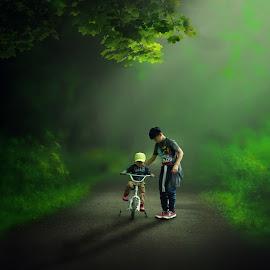 Brotherly love by Josue De Guzman - Babies & Children Children Candids ( teaching, biking, children, learning, brothers )