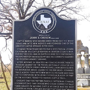 Burial Site of John S. Chisum (1824-1884) Cattle baron whose herds, moving from east to west Texas and into New Mexico, expanded into one of the greatest cattle spreads in the west. Coming from ...