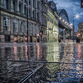 Quayside Nights by Adam Lang - City,  Street & Park  Night ( lights, quayside, reflections, tyne bridge, newcastle, rain )