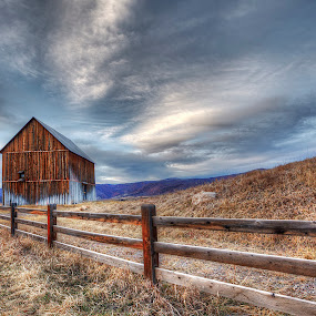 Barn by Tom Cuccio - Landscapes Prairies, Meadows & Fields ( clouds, fence, hdr, barn, landscape,  )