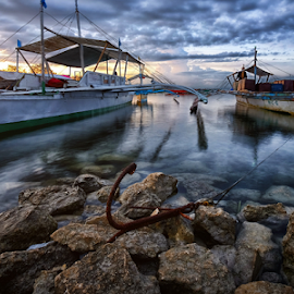 Anchoring by Ferdinand Ludo - Transportation Boats ( cebu city, boats, cordoba, mactan island, high tide, anchor )