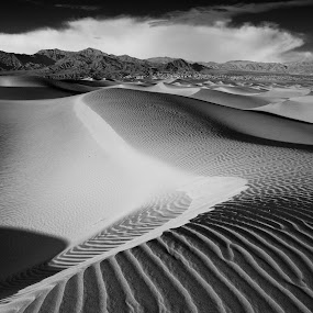 Patterns in the Wind by Dale Kesel - Black & White Landscapes ( death valley, clouds, patterns, desert, b&w, hdr, black and white, textures, california, desertscapes, landscape, skies, mountains, sand dunes, southwest )