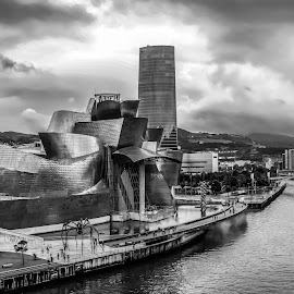 panoramica Guggenheim, Bilbao by Roberto Gonzalo Romero - Landscapes Travel ( rio, panoramica, black and white, bilbao, guggenheim )