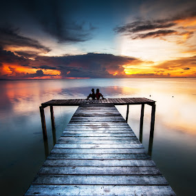 romantic light by Christianto Mogolid - Buildings & Architecture Bridges & Suspended Structures ( dawn, sky, sunset, cloud, jetty, landscape,  )