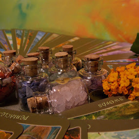 The Sight by Jeannie Love - Novices Only Objects & Still Life ( witchcraft, bottles, stones, cards, flower )