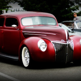 1940 Ford Coupe by Becky Luschei - Transportation Automobiles ( red, vintage, matte-finished, car images, favorite, 1940 ford coupe )