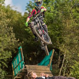 Trust by Nick Moor - Sports & Fitness Cycling ( down hill, rider, farmer johns mtb park, trust, jump )