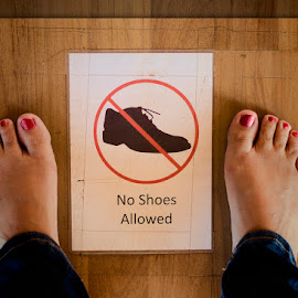 no shoes allowed by Barbara Springer - People Body Parts ( sign, feet, toes, no shoes, barefoot )
