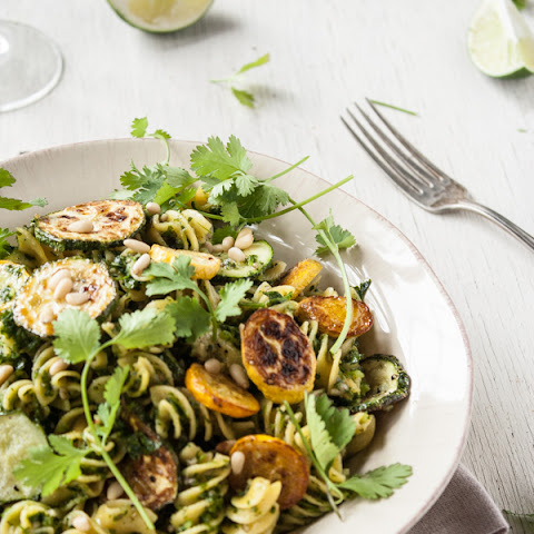 Roasted Summer Squash Pasta + Cilantro-Lime Pesto