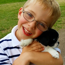 Puppy Love by Rita Goebert - Babies & Children Children Candids ( spaniel puppy, puppy love; children with dogs; child with puppy; )