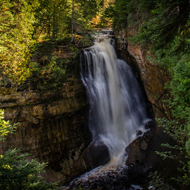 The falls by Calvin Morgan - Landscapes Forests ( michigan's upper peninsula, waterfall, forest, landsscape, nikon d7000 )