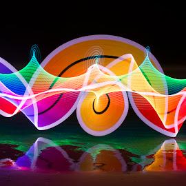 Painting on the Beach by Susan Marshall - Abstract Light Painting ( colour, ight, beach, lightpainting beach,  )