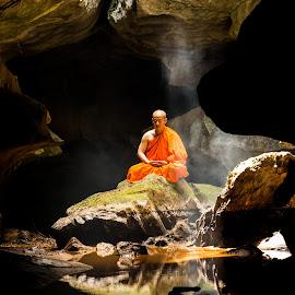 by Ron T - Uncategorized All Uncategorized ( water, reflection, monk, mountain, monks, zen, rock, cave, people )