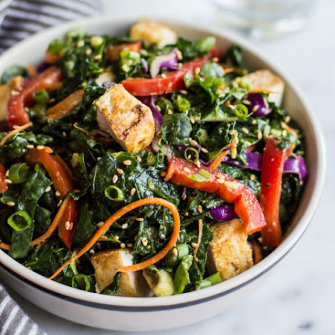 Kale Salad with Fried Tofu and Miso Ginger Dressing