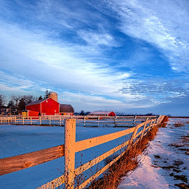Back Road Life by Phil Koch - Landscapes Prairies, Meadows & Fields ( vertic  al, travel, yellow, nature, barn, snow, weather, perspective, light, orange, colors, art, twilight, ins  pired, mood, journey, horizon, portrait, country, fence, environment, dawn, winter, season, serene, outdoors, trees, lines, natural, inspirational, wisconsin, ray, beauty, landscape, sun, photography, farm, s  ky, life, ice, emotions, horizons, clouds, office, park, heaven, beautiful, scenic, morning, living, shadows, field, red, blue, sunset, amber, peace, meadow, beam, earth, sunrise )