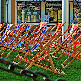 OPEN FOR BUSINESS by Gary Colwell - City,  Street & Park  Markets & Shops ( colour, color, chairs, new hampshire, mall,  )