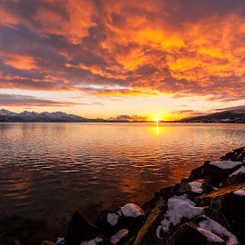 Sunset time by Benny Høynes - Landscapes Sunsets & Sunrises ( clouds, sunset, sea, skies, sun, norway )