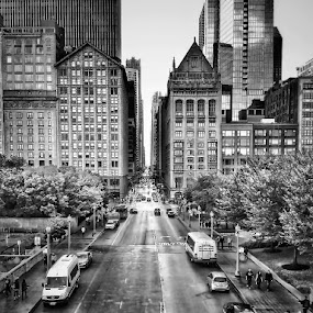 Streets of Chicago by Gene Brumer - Black & White Street & Candid ( cars, streets, chicago, people, downtown, black&white )