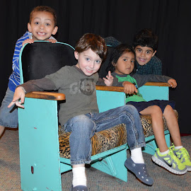 by Shannon Maltbie-Davis - Babies & Children Children Candids ( boys, theatre seats, children, tiger pattern, aqua, smile )