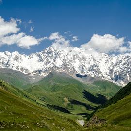 Shkara by Jemo Popkhadze - Landscapes Mountains & Hills ( glacier, clouds, mountains, sky, mountain, blue, green, landscape )