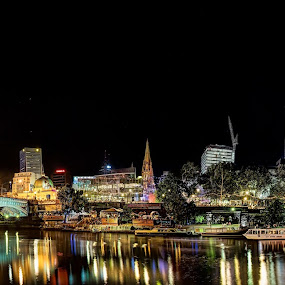 White Night Federation by Phil Hanna - City,  Street & Park  Skylines ( flinder street station, melbourne, australia, lazer, victoria, night, laser, white night, yarra, light, federation square )