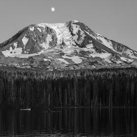Mt. Adams by Mats Nordgren - Landscapes Mountains & Hills ( mountain, mt adams, black & white, dark, panorama )