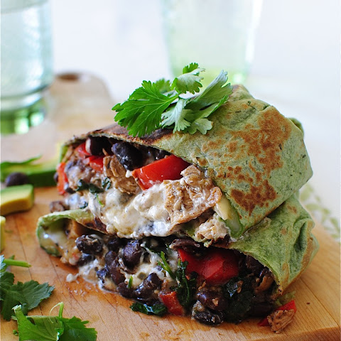 Salsa Verde Chicken and Black Bean Burritos
