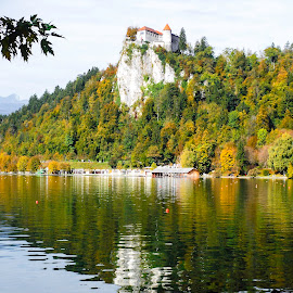 Lake Bled Castle on Cliff by Shari Linger - Buildings & Architecture Public & Historical ( mountains, castles on cliffs, autumn, fall, slovenia, castle )