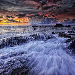Heart of Stones by Hendri Suhandi - Landscapes Sunsets & Sunrises ( clouds, bali, waterscape, sunset, beach, sunrise, motion, stones, landscape, rocks )