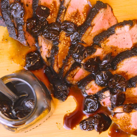 Smoked Coffee and Cocoa Crusted Duck Breast with Balsamic-Cherry Reduction