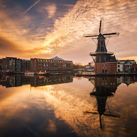 Haarlem mill by Djordje Vukadinovic - Buildings & Architecture Public & Historical ( clouds, water, mill, town, sunrise, holand, sun )