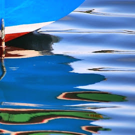 A soft reflection by Francis Xavier Camilleri - Abstract Patterns ( abstract, reflection, patterns, blue, ripples, sea, boat )