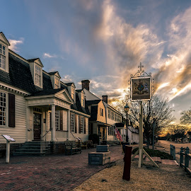 King's Arms Restaurant  by Robert Sellers - City,  Street & Park  Street Scenes ( clouds, sunset, food, williamsburg, colonial, cloudscape, virginia, eat, arms, historical, landscape, restaurant, king, historic,  )