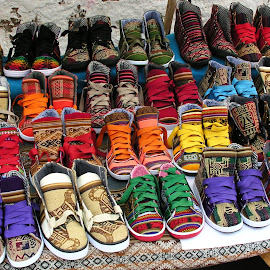 Inca running shoes by Dennis Rathbun - Artistic Objects Clothing & Accessories ( shoues, still life, pisac, marketplace, inca )
