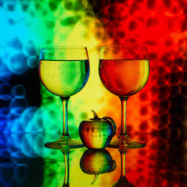 Appletini by Lisa Hendrix - Artistic Objects Other Objects ( reflection, red, blue, color, green, apple, artistic, yellow, wine glasses, rainbow )