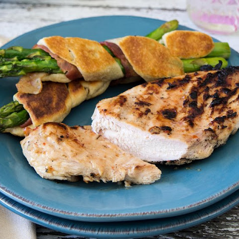 Grilled Chicken with Bacon-Asparagus Crescent Wraps
