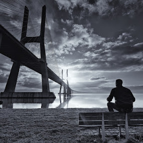 Meditar ao Nascer do Sol... by Rui Catarino - Buildings & Architecture Bridges & Suspended Structures (  ponte vasco da gama  eu  p&b )
