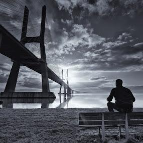 Meditar ao Nascer do Sol... by Rui Catarino - Buildings & Architecture Bridges & Suspended Structures (  ponte vasco da gama  eu  p&b )