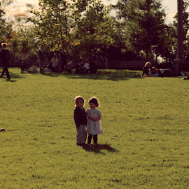 LOVE by Marco Vitale - People Couples ( park, sunset, sunny, couple, kids, spring )