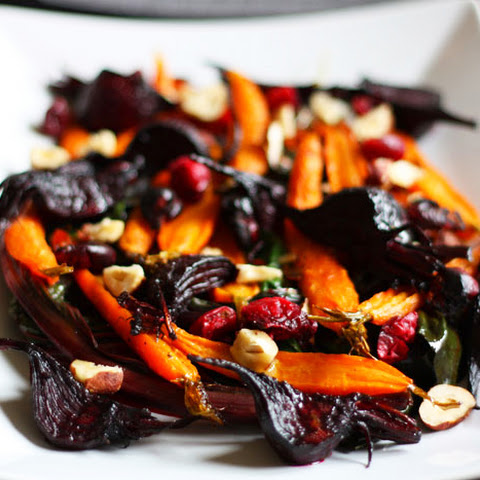 Wilted Chard Salad with Roasted Beets & Carrots
