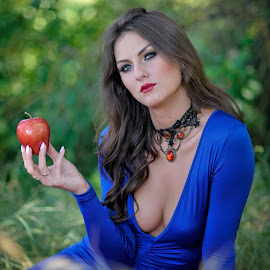 Woman with an Apple by Les Walker - People Portraits of Women ( red, holding, apple, woman, blue dress,  )