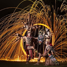 Dayak  by Hade Hartono - People Body Art/Tattoos ( unique, steel wool, tribe, light, war, mood factory, color, lighting, moods, colorful, bulbs, mood-lites )
