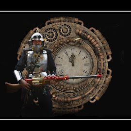 time guardian by Kathleen Devai - Digital Art People ( fantasy, time, lincoln, travel, lincolnasylum, steampunk, city )