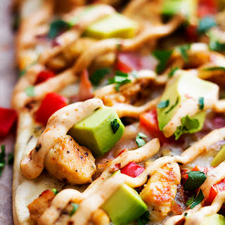 California Chicken Flatbread with Chipotle Ranch Sauce