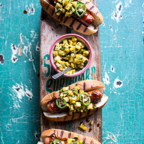 Hawaiian BBQ Dog with Mango, Chili, Pineapple and Lime Relish.