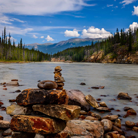 Athabasca River by Joseph Law - Landscapes Waterscapes
