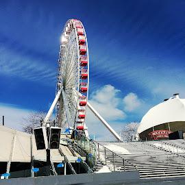The Ferris Wheel by Susan Kulasik - City,  Street & Park  Amusement Parks ( old, navy pier, illinois, chicago, ferris wheel, city )